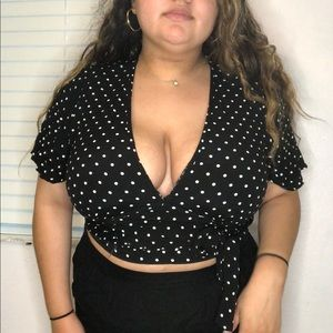 Plus Size Polka Dot Crop Top